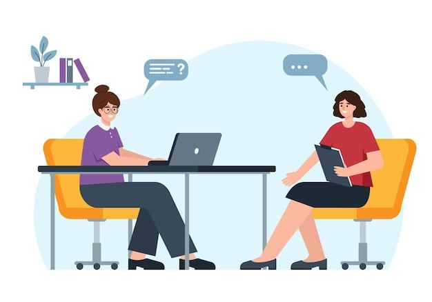 Servizio per l'impiego intervista con il cercatore di lavoro in ufficio concetto di reclutamento di headhunting