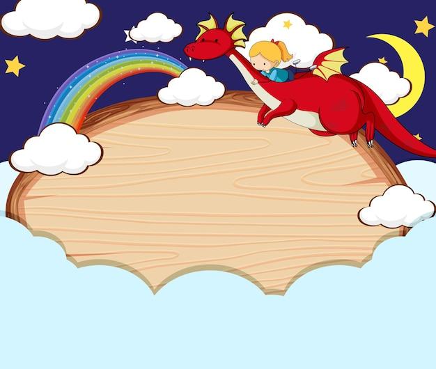Banner vuoto nel cielo notturno con personaggi ed elementi dei cartoni animati da favola