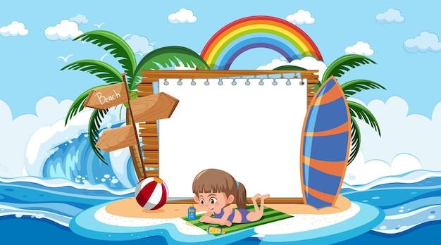 Modello di banner vuoto con bambini in vacanza sulla scena diurna della spiaggia