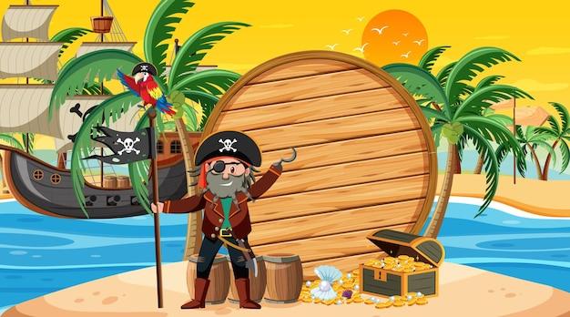 Modello di banner vuoto con capitano pirata sulla scena del tramonto sulla spiaggia