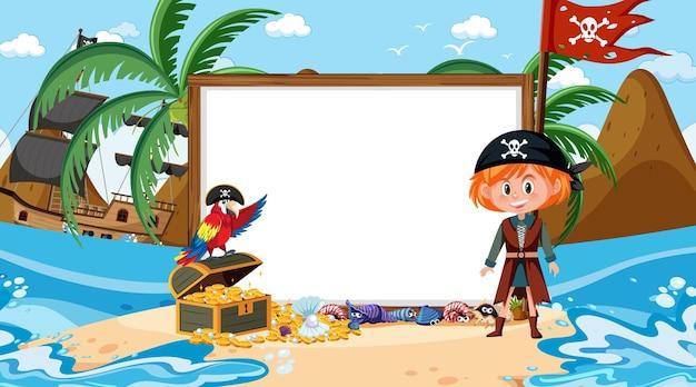Modello di banner vuoto con ragazza pirata sulla scena diurna della spiaggia