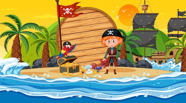 Modello di banner vuoto con ragazza pirata sulla scena del tramonto sulla spiaggia