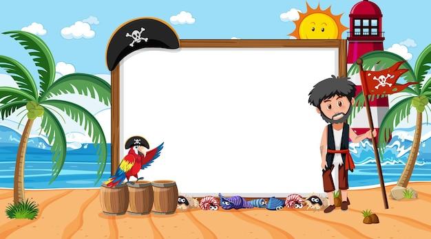 Modello di banner vuoto con l'uomo pirata sulla scena diurna della spiaggia