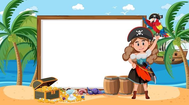 Modello di banner vuoto con donna pirata sulla scena diurna della spiaggia