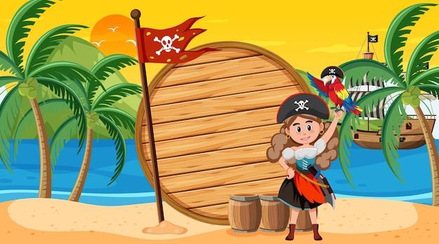 Modello di banner vuoto con donna pirata sulla scena del tramonto sulla spiaggia