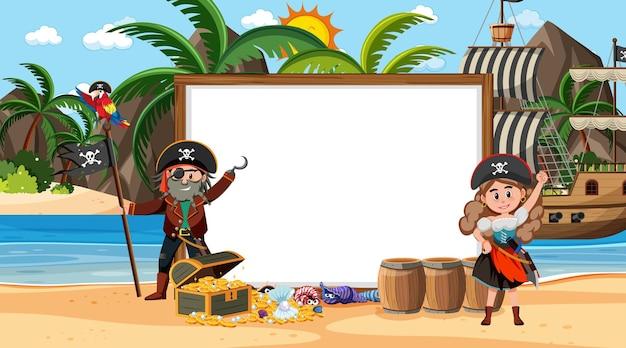 Modello di banner vuoto con i pirati sulla scena diurna della spiaggia