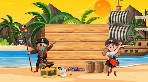 Modello di banner vuoto con i pirati sulla scena del tramonto sulla spiaggia
