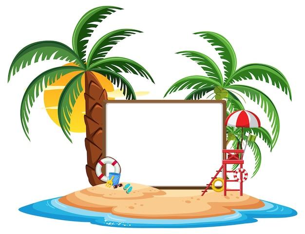 Modello vuoto dell'insegna con l'elemento della spiaggia di estate isolato