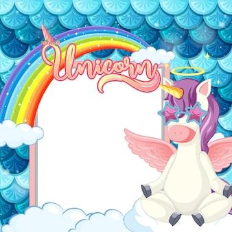Banner vuoto con simpatico personaggio dei cartoni animati di pegasus su scale di sirena pastello