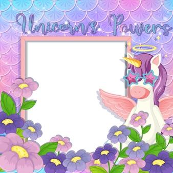 Banner vuoto con simpatico personaggio dei cartoni animati di pegaso su scaglie di sirena pastello