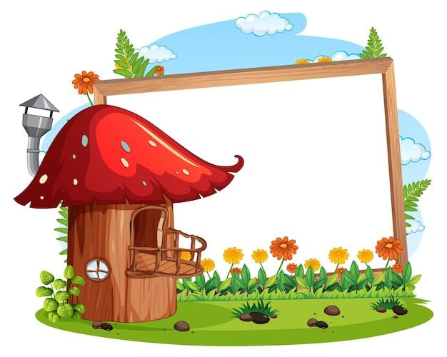 Bandiera vuota con casa dei funghi di fantasia