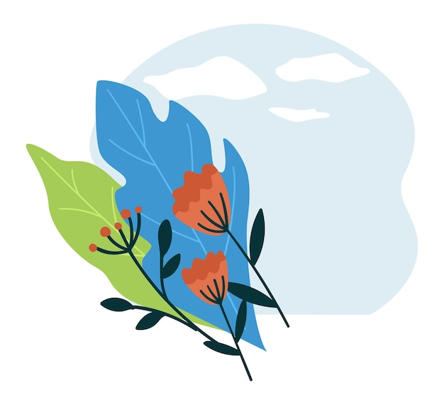 Banner vuoto con ornamenti floreali, foglie e fogliame con fiori che sbocciano. banner con copyspace e sfondo del cielo con nuvole. disegni di carte naturali e romantici. vettore in stile piatto