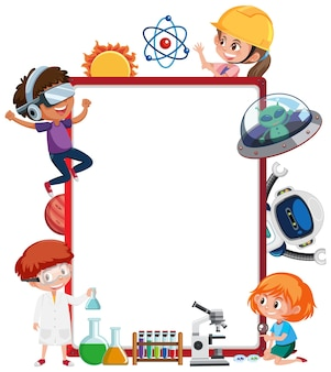Banner vuoto con bambini in tema tecnologico