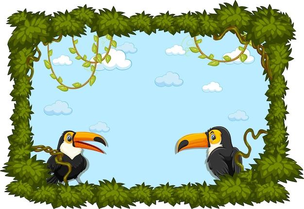 Banner vuoto con cornice di foglie e personaggio dei cartoni animati di tucano