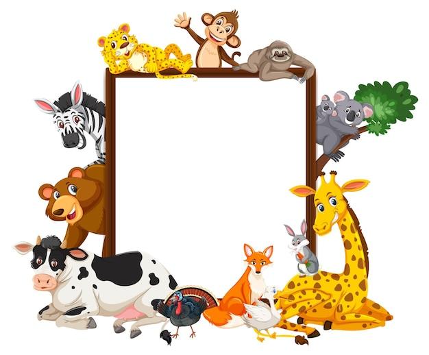 Banner vuoto con molti diversi animali selvatici