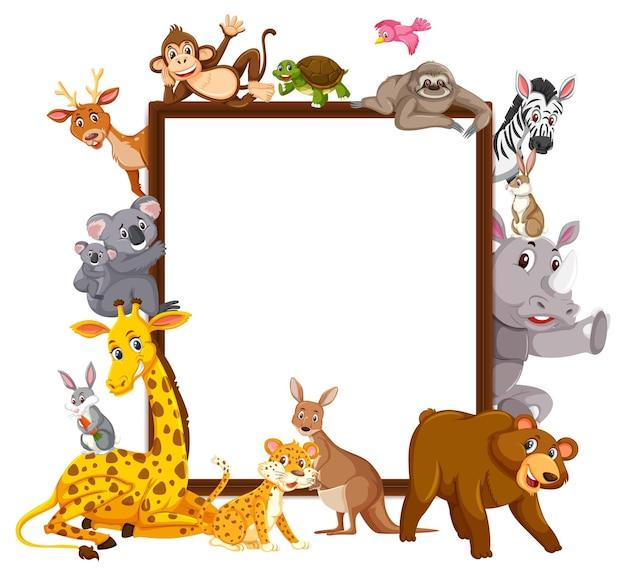 Banner vuoto con molti animali selvatici diversi