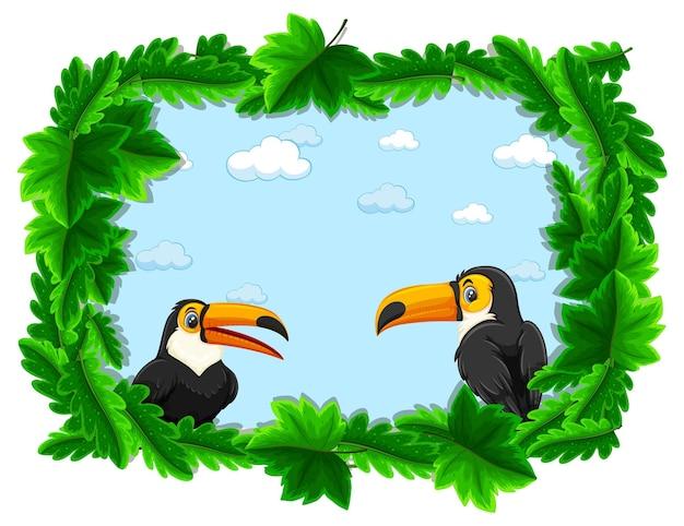 Banner vuoto con cornice di foglie tropicali e personaggio dei cartoni animati tucano