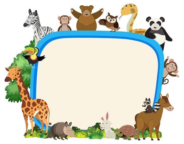 Banner vuoto con vari animali selvatici