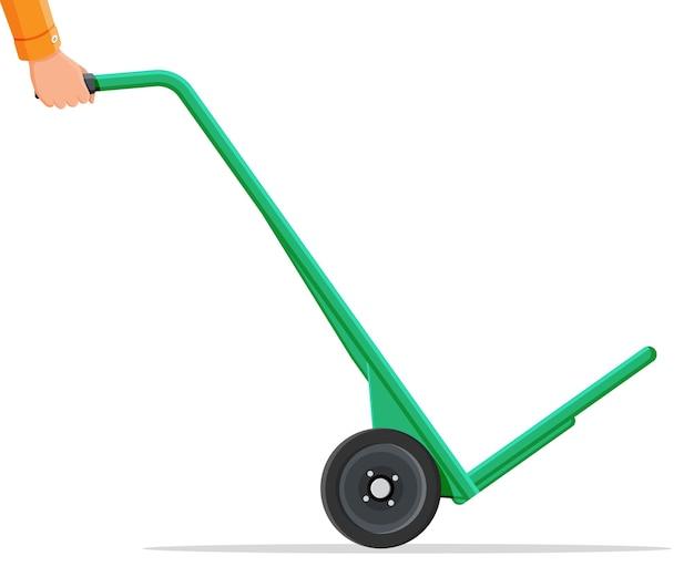 Carriola vuota isolata su bianco. trolley in metallo a due ruote. icona di carrello carrello a mano. trasporto di merci, attrezzature di magazzino. cartoon piatto illustrazione vettoriale cartoon