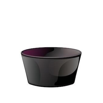 Ciotola di salsa di ceramica nera vuota in stile cartone animato piatto. illustrazione vettoriale isolato su sfondo bianco