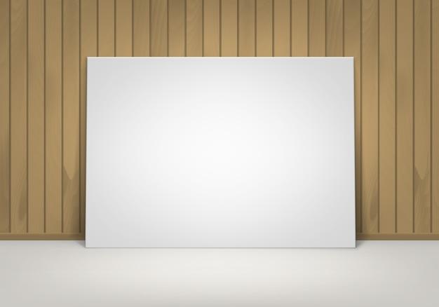 Vuoto bianco vuoto mock up poster picture frame in piedi sul pavimento con vista frontale a parete in legno marrone siena