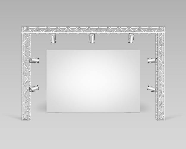 Foto di poster bianco vuoto vuoto in piedi sul pavimento con vista frontale di illuminazione di faretti