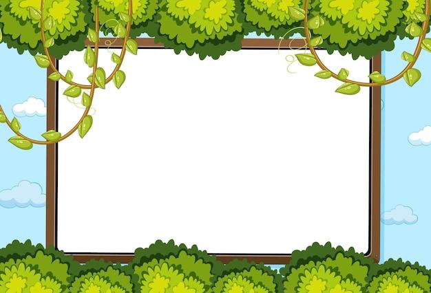 Scheda vuota sullo sfondo del cielo con elemento di foglie