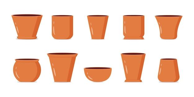 Raccolta di vasi da fiori marrone vuota