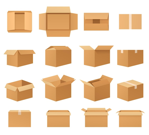 Scatole di pacchi di cartone vuote, set di imballaggi di consegna aperti e chiusi, vista frontale, vista dall'alto, vista laterale, angolata. cassette postali di carta di varie forme.