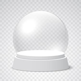 Globo vuoto della neve di natale su priorità bassa trasparente. sfera di vetro. illustrazione.