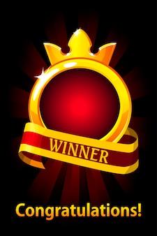 Cornice cerchio vuoto con nastro e corona. premi per le risorse di gioco dell'interfaccia utente Vettore Premium