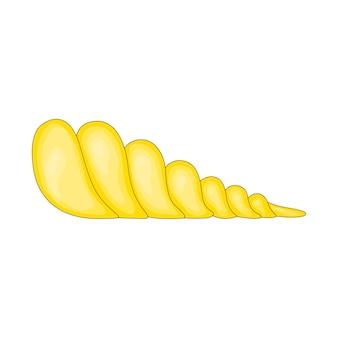 Un guscio marrone a strisce circolari vuoto di una lumaca o di un disegno a colori vettoriale di un mollusco o di un'illustrazione - vettore.