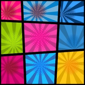 Mockup di pagina fumetto vuoto con sfondo colorato. elemento per poster, carta, stampa, banner, flyer. immagine