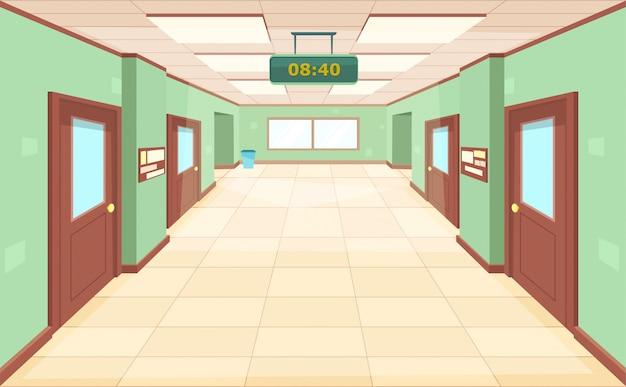Corridoio vuoto con porte e finestre chiuse.