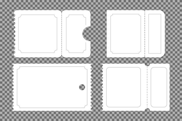 Insieme di mockup di vettore di coupon, pass e biglietto vuoto isolato su uno sfondo trasparente.