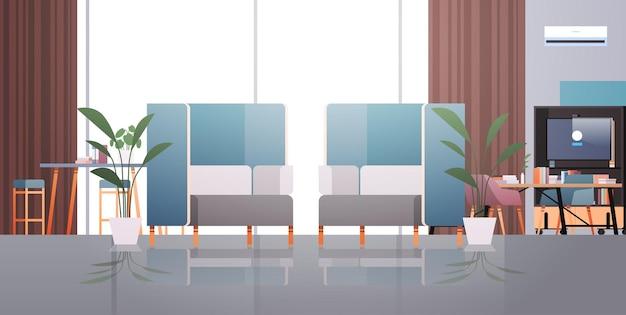 Spazio aperto interno della stanza dell'ufficio moderno del centro di coworking vuoto con l'illustrazione orizzontale della mobilia