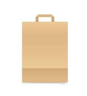 Sacchetto della spesa vuoto della carta del mestiere isolato su bianco. marchio del nemico mockup vettoriale