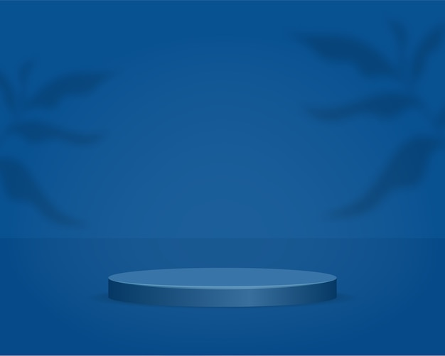 Podio del cilindro vuoto su sfondo blu con sovrapposizione di ombre. scena minima astratta con oggetto di forma geometrica. 3d