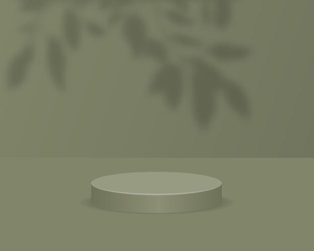 Podio del cilindro vuoto su sfondo verde con sovrapposizione di ombre. scena minima astratta con oggetto di forma geometrica. 3d
