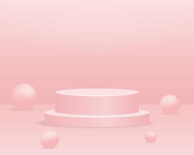 Podio del cilindro vuoto su sfondo rosa. scena minima astratta con oggetto di forma geometrica. 3d