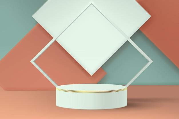 Piedistallo cilindrico vuoto per esposizione prodotti a scopo pubblicitario. sfondo astratto con forme quadrate in colori pastello.