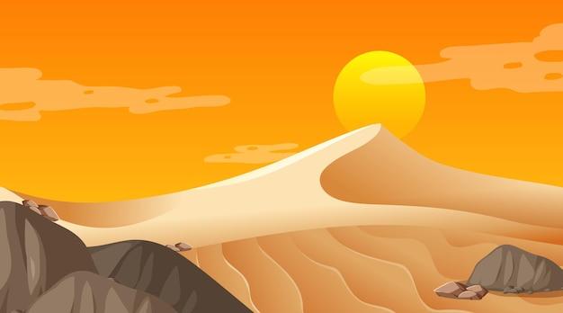 Paesaggio vuoto della foresta del deserto alla scena dell'ora del tramonto