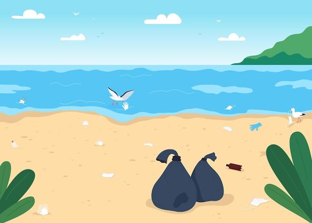 Illustrazione di colore piatto spiaggia sporca vuota