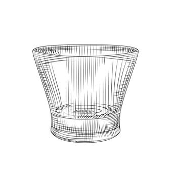 Bicchiere vuoto isolato su sfondo bianco. incisione in stile vintage. illustrazione vettoriale.