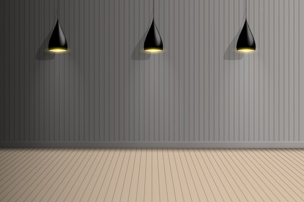 Sala espositiva vuota con lampadina a soffitto, interior design