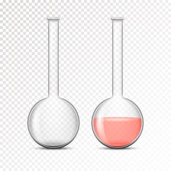 Pallone vuoto e riempito per laboratorio chimico