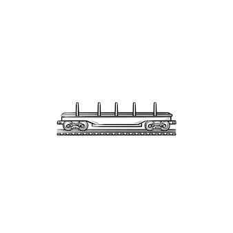 Icona di doodle di contorni disegnati a mano di flatcar vuoto. piattaforma aperta e carro merci, consegna e concetto di ferrovia