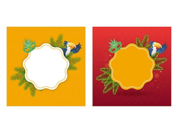 Cornice vuota con maschera di carnevale, foglie di abete e uccello tucano