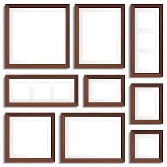 Cornici vuote di legno wengè in vari formati standard. illustrazione vettoriale su sfondo bianco.