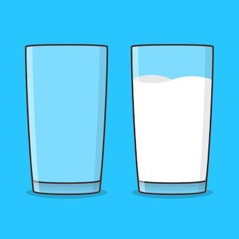 Illustrazione di bicchieri di latte vuoto e pieno. bicchiere di latte piatto